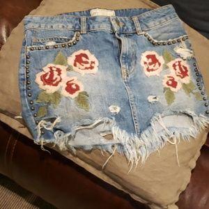 Free People vintage  jean skirt
